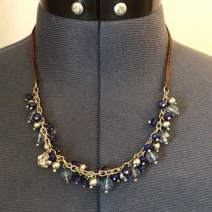 Blue & Silver Beaded Statement Necklace